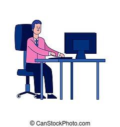 conception, coloré, bureau, bureau, informatique, homme affaires, heureux, fonctionnement