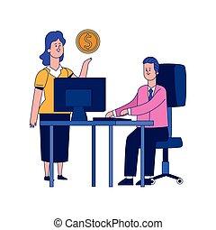 conception, coloré, femme, bureau bureau, dessin animé, homme affaires, fonctionnement