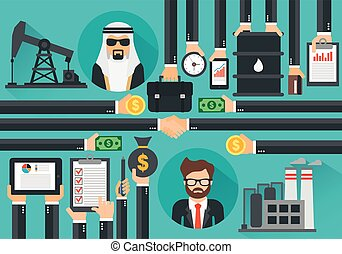 conception, concept, plat, moderne, market., arabe, huile, secousse, produit, hands., affaire, acheteur, vendeur
