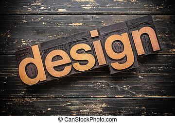 conception, concept, type, letterpress, bois, mot, vendange