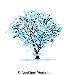 conception, croquis, hiver arbre, ton