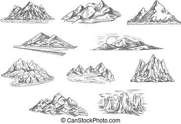 conception, croquis, nature, paysages, montagne