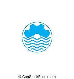 conception, dent, eau, vecteur, machine, logo, océan vague, symbole