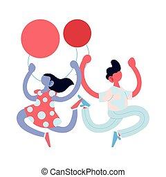 conception, dessin animé, garçon, vecteur, ballons, girl