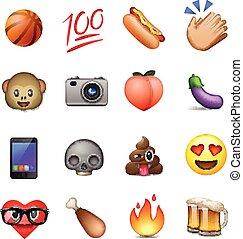 conception, emoticons, mignon, ensemble, smiley, emoji