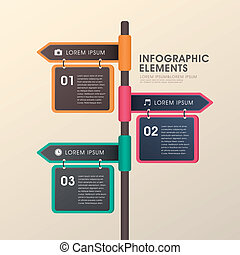 conception, flèche, poteau indicateur, infographics