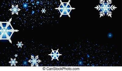 conception, flocons neige, fond, nuit