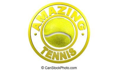 conception, fond blanc, circulaire, tennis