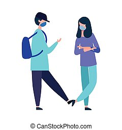 conception, girl, masque, garçon école, vecteur, monde médical