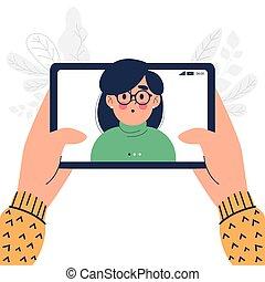 conception, heureux, haut, pc, fin, homme, tablette, plat, appeler, vidéo