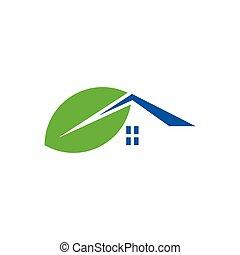 conception, icône, vecteur, logo, maison, feuille