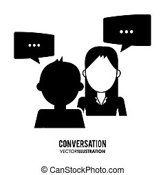 conception, icônes, conversation