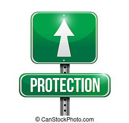 conception, illustration, route, protection, signe