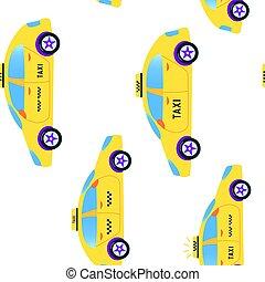 conception, illustration, taxi, seamless, modèle, mignon, vecteur, -