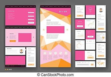 conception, interface, gabarit, site web, éléments