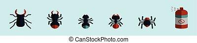 conception, isolé, ensemble, divers, termite, fond, dessin animé, vecteur, illustration, icône, models., gabarit, bleu
