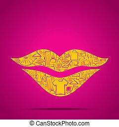conception, lèvres, achats, icône