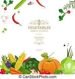 conception, légumes, bannière, ton, frais
