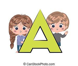 conception, lettre alphabet, girl, garçon, vecteur