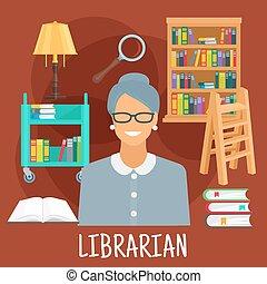 conception, livres, profession, icône, bibliothécaire