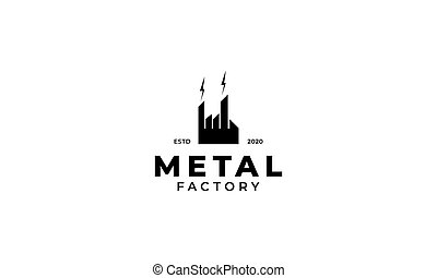 conception, logo, illustration, usine, bâtiment, métal