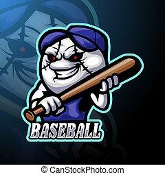 conception, logo, mascotte, esport, base-ball