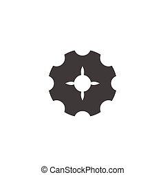 conception, machine, symbole, géométrique, éclat, logo, vecteur, dent