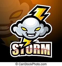 conception, mascotte, nuage orage, logo, esport