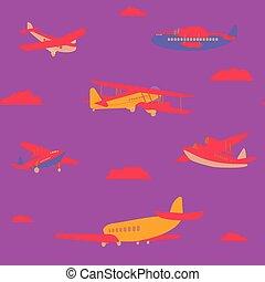 conception, modèle, illustration, avions, seamless