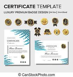 conception, moderne, écusson, certificat