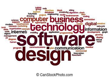 conception, mot, nuage, logiciel