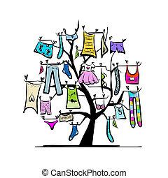 conception, portemanteaux, garde-robe, ton