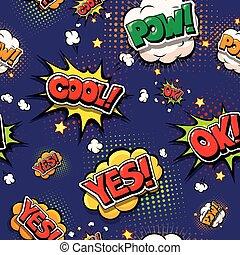 conception, pow, art, explosions, oui, ok, parole, comique, comic., style., coloré, oops, frais, pop, fonts., bulles