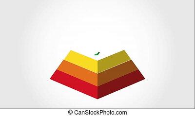 conception, pyramide, vidéo, animation, icône