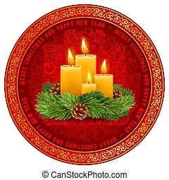 conception, quatre, venue, noël, salutation, fête, bougies