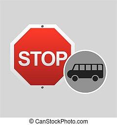 conception, signe, arrêt, route, fourgon
