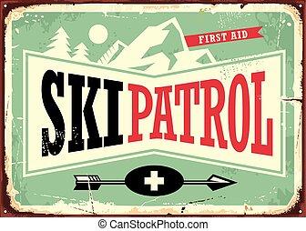 conception, signe, patrouille, retro, ski