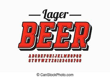 conception, simple, étiquette, style, bière, police, vendange