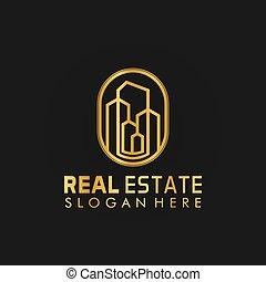 conception, symbole, bâtiment, propriété, illustration, logo, propriété, doré, vecteur, vrai