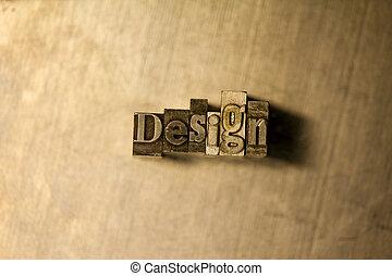 conception, texte, -, letterpress, signe