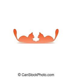 conception, vecteur, icône, chat, illustration, logo