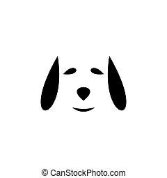 conception, vecteur, icône, figure, logo, chien, noir, symbole
