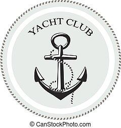 conception, vecteur, secteur, club, blanc, yacht, nom, au-dessous, ancre, logo, texte, graphique, arrière-plan.