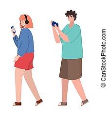conception, vecteur, smartphones, garçon, girl