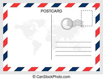 conception, voyage, carte postale, carte, isolé, arrière-plan., vide, moderne, graphique