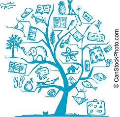 conception, voyage, concept, arbre, ton