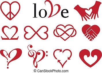 conceptions, coeur, résumé, vecteur, ensemble