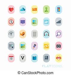 conceptions, coloré, icône