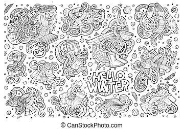 conceptions, ensemble, hiver, saison, doodles, dessin animé