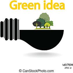 concepts, arbres, ampoule, feu vert, fond, blanc